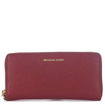 PEAPGQ6 Michael Kors Mercer Zip Around Travel Continental Leather Wallet