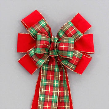 Red Velvet Holiday Plaid Christmas Bow