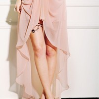 Women Euro Style Vintage Empire Waist Chiffon Asymetrical Pink Dress S/M/L@TS120424p $29.90 only in eFexcity.com.