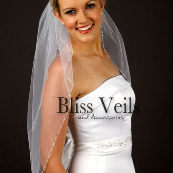 Beaded Edge Wedding Veil, Waist Length Bridal Veil, One Layer Veil