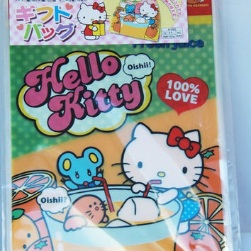 Sanrio Hello Kitty drinks her orange juice Transparent Japanese Plastic Gift / Party Bags 15pcs