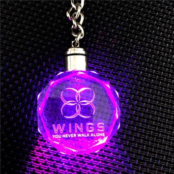 New Arrival BTS WINGS YOU NEVER WALK ALONE KPOP Bangtan Boys LED Crystal Pendant Keychain 17021120