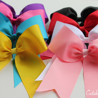 3 cheer bows - 4 dollar each cheer bow - white cheer bow - blue cheer bow - red cheer bow - pink cheer bow - black cheer bow - cheerlearding