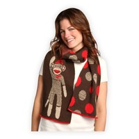 Green 3 Apparel Recycled USA-made Sock Monkey Dots Scarf (Chocolate Marl)