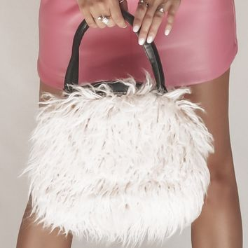 Bradshaw Cream Faux Lamb Fur Purse