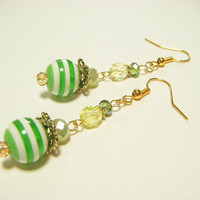 Yellow green stripe earrings, yellow green dangle earrings, yellow green beaded earrings, stripe earrings, gift of her, handmade jewelry.