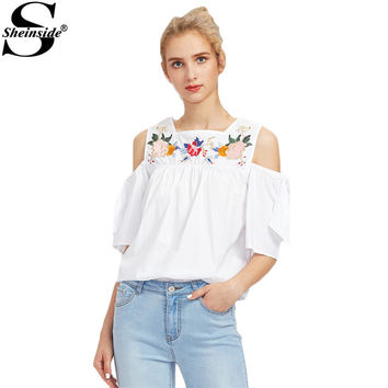 Sheinside White Embroidery Tunic Blouse Elegant Cold Shoulder Floral Summer Tops 2017 Women Cute Cut Tie Sleeve Babydoll Blouse