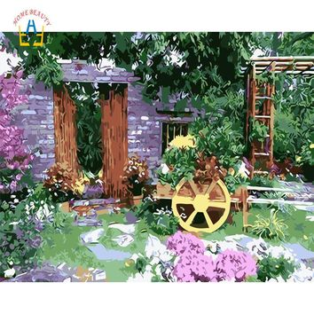 hand painted oil paintings draw pictures by numbers on canvas wall art for the kitchen home decor landscape garden house WYA064