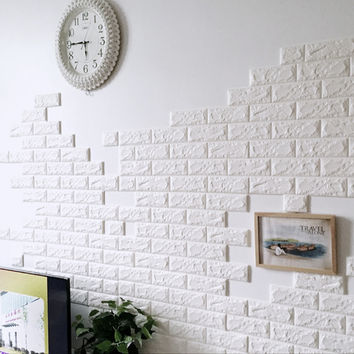 PE Foam 3D Wall Stickers Wallpaper Safety Home Decor DIY Wall Decor Brick  Living Room Kids Bedroom Self-Adhesive Poster Sticker