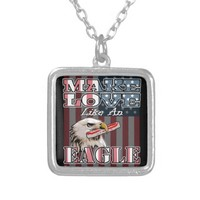 Bacon Freedom - Make Love Like an Eagle Square Pendant Necklace