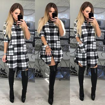 US Womens Plaid Checks Button Down Long Sleeve Blouse Tops Shirt Dress Boyfriend