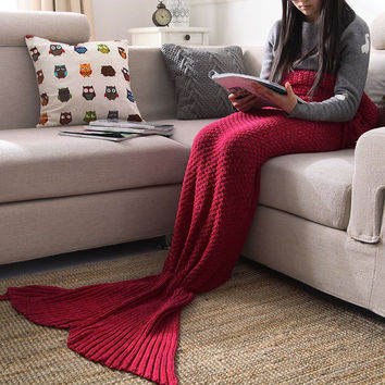 Red Mermaid Sofa Blanket Autumn&Winter Gift