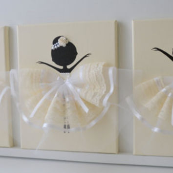 Ballerina nursery wall art in cream and white. Girls room decor.