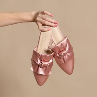 Swirl Knotted Satin Slide - Pink