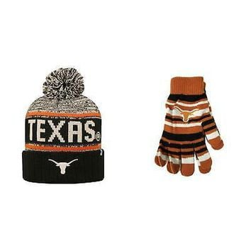 Licensed NCAA Texas Longhorns Glove Solid Knit And Acid Rain Beanie Hat 2 Pack 18819 KO_19_1