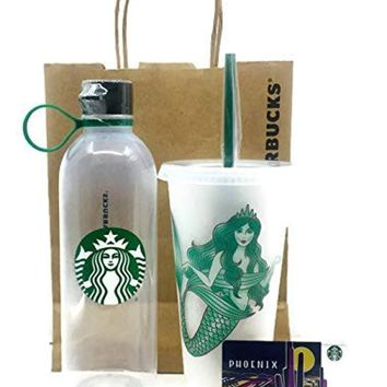Starbucks Water Bottle Clear Plastic 24oz BPA Free and Starbucks Reusable Limited Edition Siren Mermaid Frosted Cold Cup Tumbler Venti w/Lid and Reusable Straw Plus a Free Blank Gift Card- Phoenix