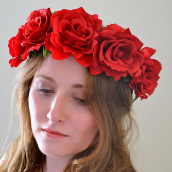 Floral crown flower crown rose crown headband wreath red roses festival - 'Lula'