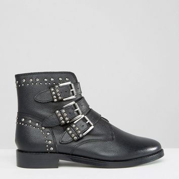 New Look Triple Buckle Leather Biker Boot at asos.com