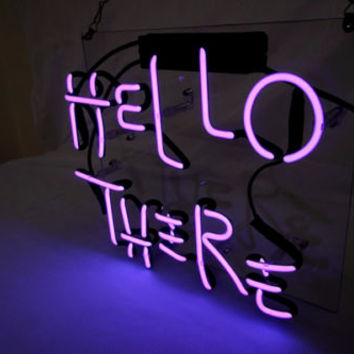"HELLO THERE HOME LAMP BEER POSTER Club Wall Store Glass Neon LIGHT SIGN 9""X12"""