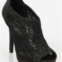Lace High Heel Bootie with Rhinestones