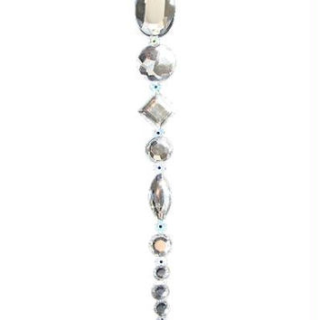 Christmas Ornament - Beaded Silver Icicle Drop