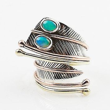 Ethiopian Opal Double Stone Three Tone Sterling Silver Adjustable Wrap Ring