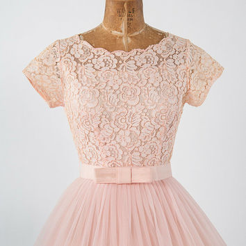 Vintage 60s Pink Lace Dress: Full Wide Crinoline Skirt, Fairy Dress, 60s Prom Party Dress, Spring Summer Bridal