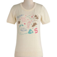 ModCloth Vintage Inspired Mid-length Short Sleeves Retro Romantic Top