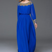 Blue Mesh and Beaded Panel Long Sleeve Maxi Waist Dress
