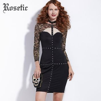 Gothic Body con Dress Women Black Autumn Hollow Patchwork Lace Rivet Sheath Dress Fashion Sexy Street Goth Body con Dress