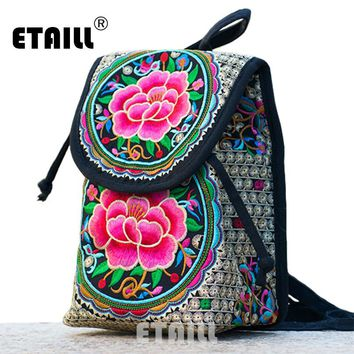 Ethnic Women Embroidered Backpacks for Girls Boho Indian Embroicery Rucksack Travel Brand Logo Bags Schoolbags Sac a Dos Femme