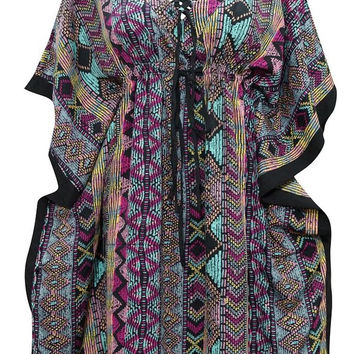 Women's Kaftans Dress Caftan Multicolored Ikat Print V-neck Moroccan Coverup L