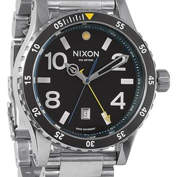 Men's Nixon 'The Diplomat' Bracelet Watch, 45mm - Silver/ Black