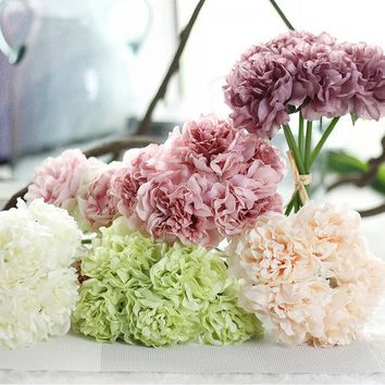 Crystalhousee Artificial Silk Fake Flowers Peony Floral Wedding Bouquet Bridal Hydrangea Decor