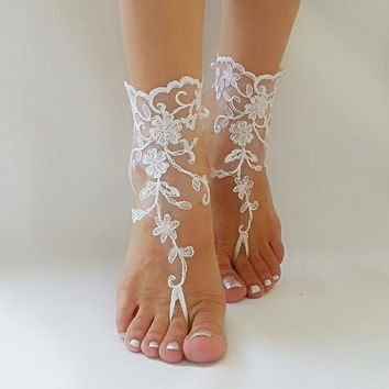 white  Barefoot , french lace sandals, wedding anklet, Beach wedding barefoot sandals, embroidered sandals.