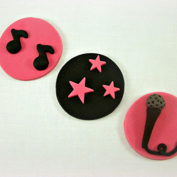 12 Rock Star Girl Party Cupcake Fondant Toppers, Rock Star Baby Shower Edible Decoration, Rock Star Birthday Cookies, Black Pink Toppers
