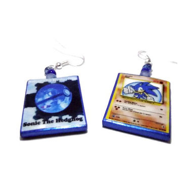 Sonic the Hedgehog Pokemon Card Earrings, 2 Sided, Gamer Jewelry, Glass Beads, Silver or Gold Earrings.