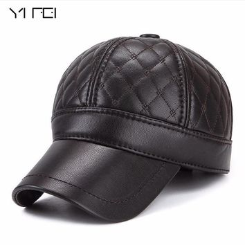 Trendy Winter Jacket YIFEI  Warm Winter Leather Fur Baseball Cap Ear Protect Snapback Hat For Women High Quality Winter Hat For Men Solid n Hat AT_92_12