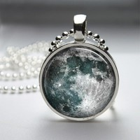 Full Moon Glass Tile Bezel Pendant Necklace
