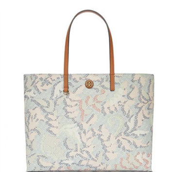 Tory Burch Kerrington Floral Print Square Shoulder Tote