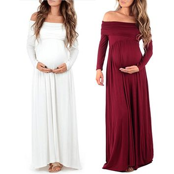 New Women Maternity dress Off Shoulders Pregnants Photography Props Nursing Dress Long Sleeves Pregnant Women Dresses