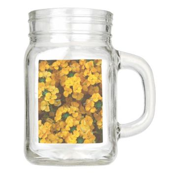 Orange Wallflowers Floral Mason Jar
