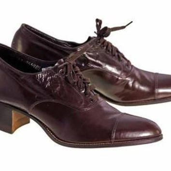 Vintage Brown Leather Early 1920S  Oxford Ladies Shoes NIB  Sz EU 37 US 6.5