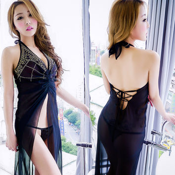 Cute On Sale Hot Deal Diamonds See Through Split Sexy Chiffon Prom Dress Exotic Lingerie [4933173956]