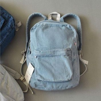 DCCKNQ2 Retro Denim Simple Canvas School Satchel Shoulder Bag Backpack