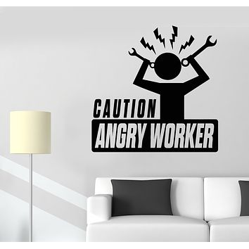 Vinyl Wall Decal Caution Angry Worker Office Decor Stickers Mural (g3023)