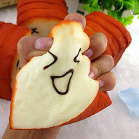 Kawaii Jumbo Squishy Slice Toast Joy Smile Face Phone Card Holder Hand Pad