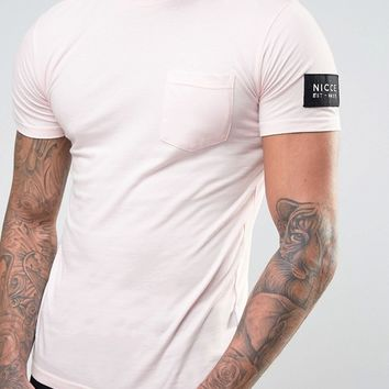 Nicce London T-Shirt In Pink With Sleeve Patch at asos.com