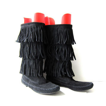Vintage Tall Black Leather Fringe Moccasins Boots. Suede Fringed Boots. size 7.5