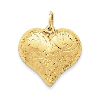14k Gold Scrolled Puffed Heart Pendant